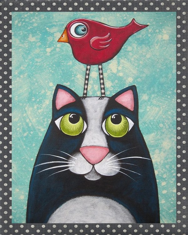 Folk Art Cat Bird Print Of Original Painting