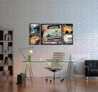 Wood Photo Blocks Vintage Cars Home Decor Wall Art