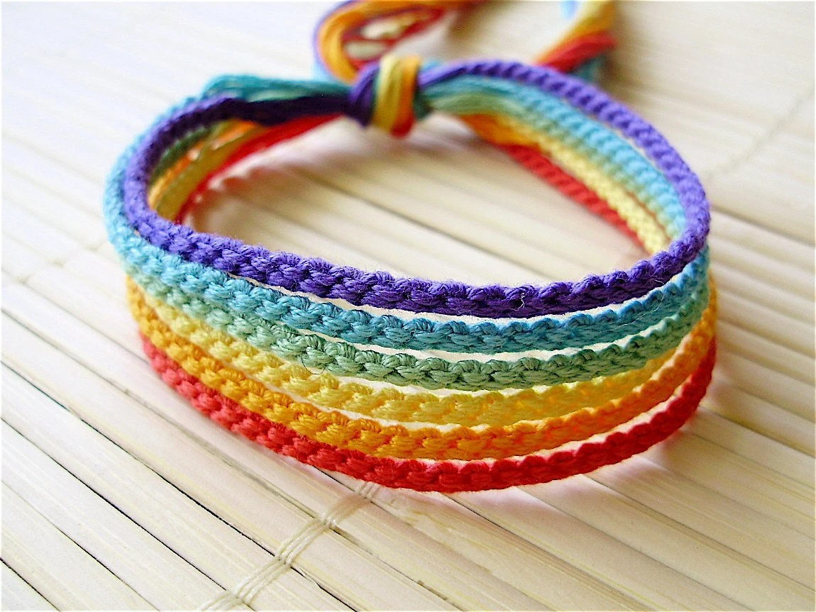 Muted Rainbow Friendship Bracelet Set Six Handmade Bracelets