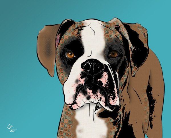 Boxer 8x10 Pop Art Print Dog Popdogdesign