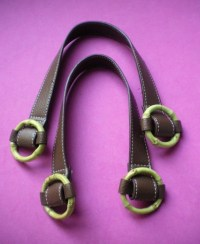 Set of Two Brown Leather Purse Handles with Bamboo O Rings