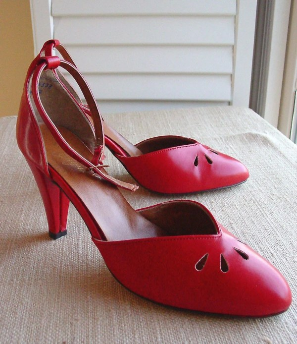 Vintage High Heels Red Ankle Strap With Peep Holes Vegan Size