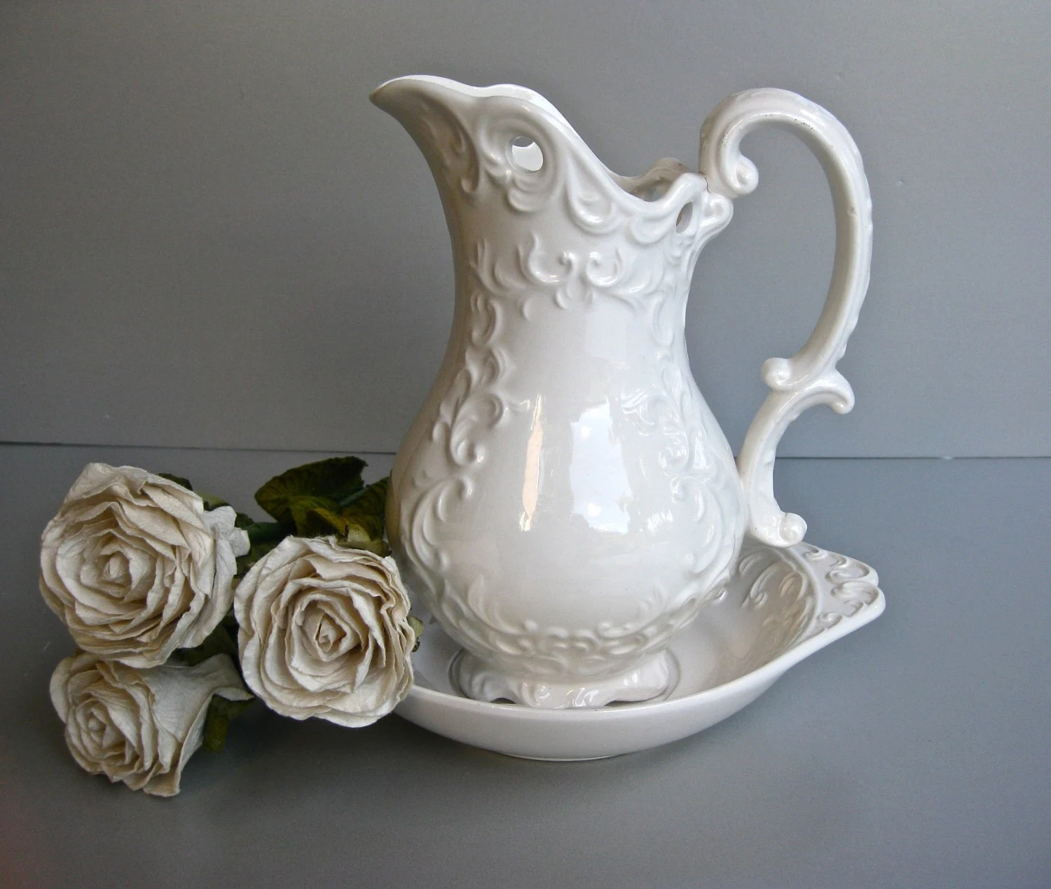 Vintage Napco White Pitcher and Bowl by Swede13 on Etsy