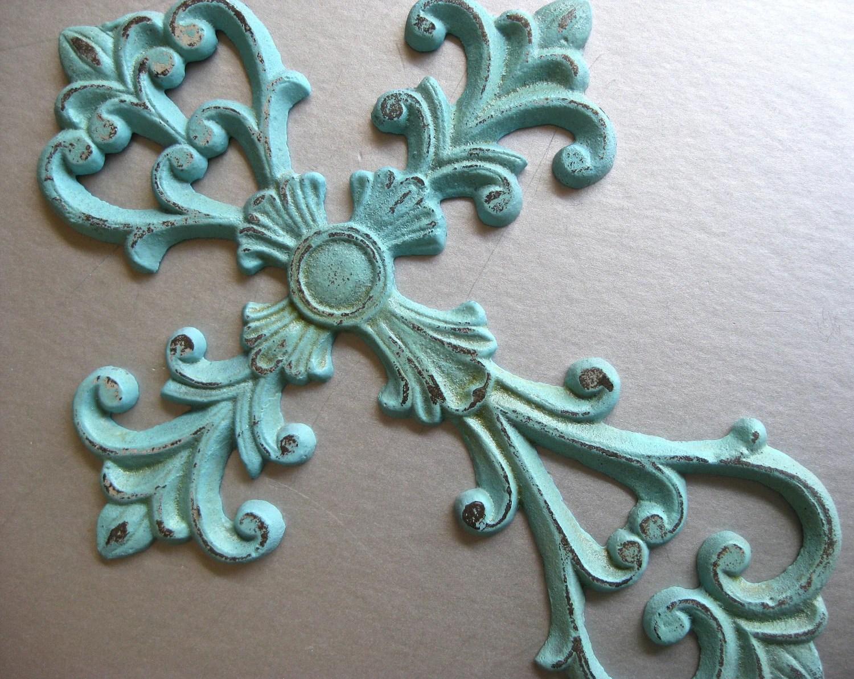 Rustic Aqua Cross Metal Cross Cross Wall Decor Aqua Blue
