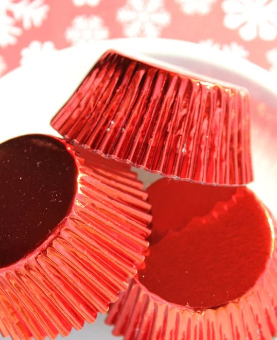 Red Foil Cupcake Liners Holiday Baking Cups 50