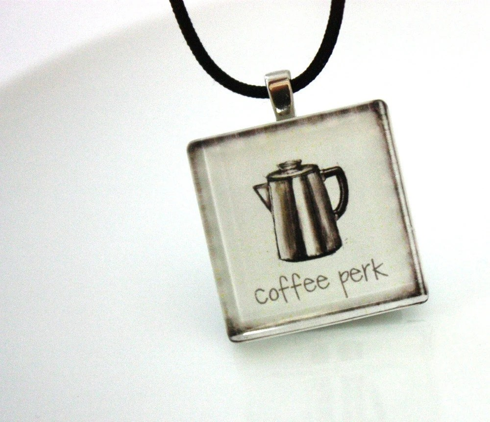 Coffee Pot Glass Tile Necklace : Perk Up Glass Tile Necklace - WoodenNickelsJewelry