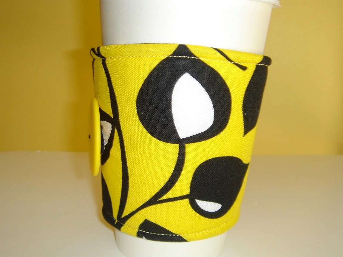 Coffee Cup Cozy Fabric Bright Yellow With Black Leaves - JenniferSews