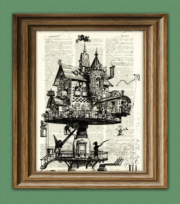 Retro-futuristic Aerial House Steampunk Illustration
