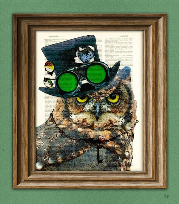 Steampunk Owl Inspektor Vontalon With Top Hat And Goggles