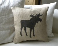 Burlap hessian Moose pillow Cushion Christmas winter or boys