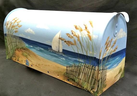 hand painted mailbox serene beach
