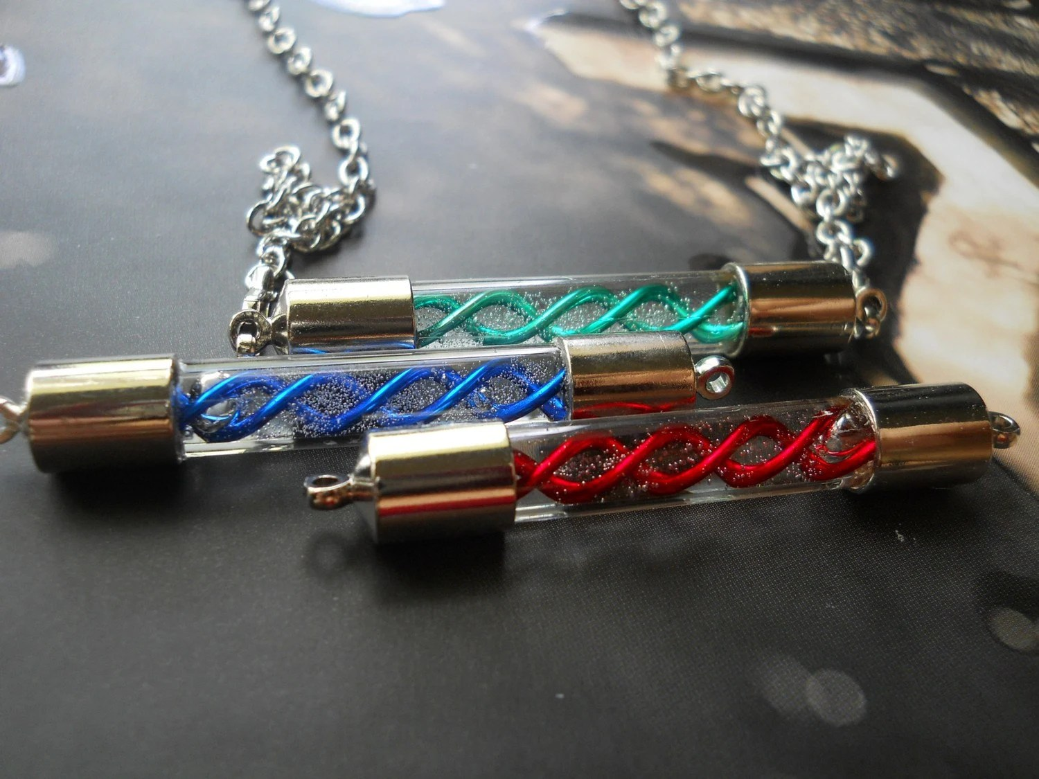 Resident Evil Set of 3 Interchangable Handblown T Virus, G Virus and G Vaccine Capsule Shield Necklace