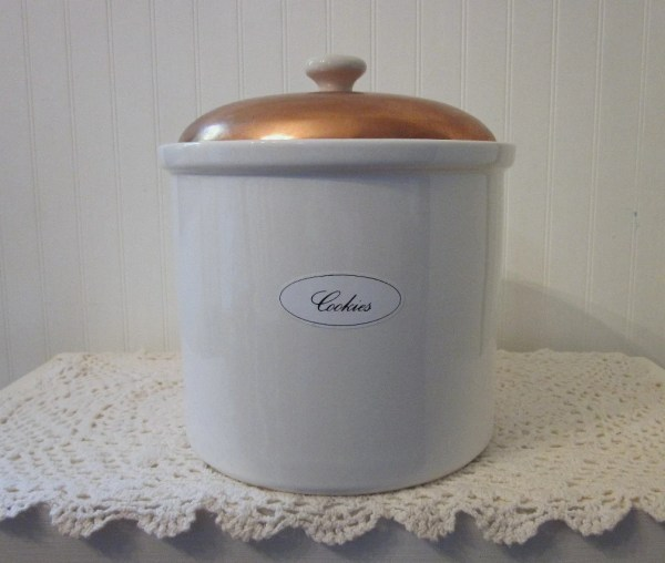 White Jars with Lids Copper