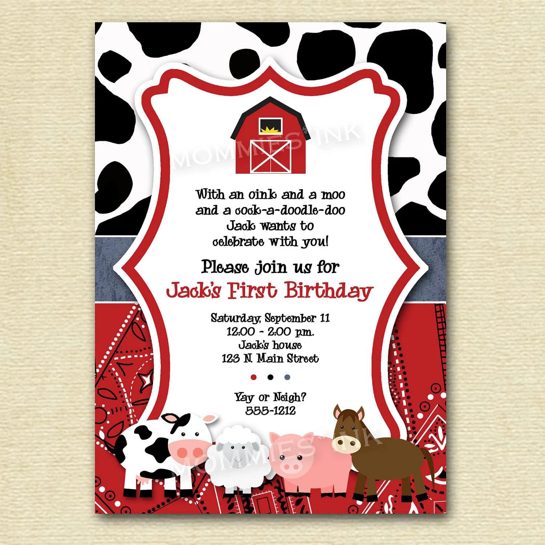 Mod Farm Animals Birthday Party Invite Farm Invite By