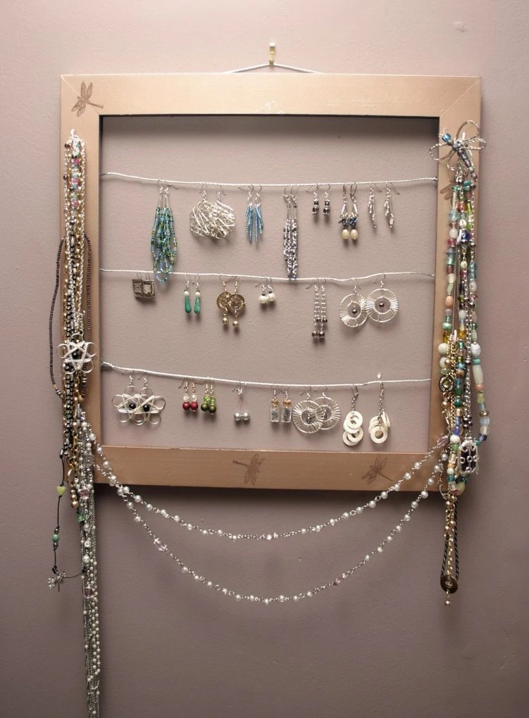 Upcycled Picture Frame Jewelry Organizer by CecilBobby on Etsy