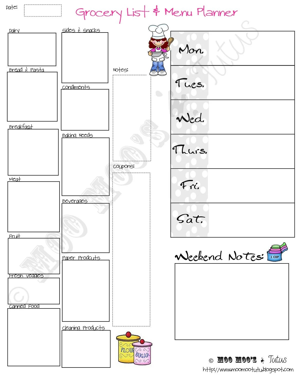 DIY Printable Grocery List and Menu Planner