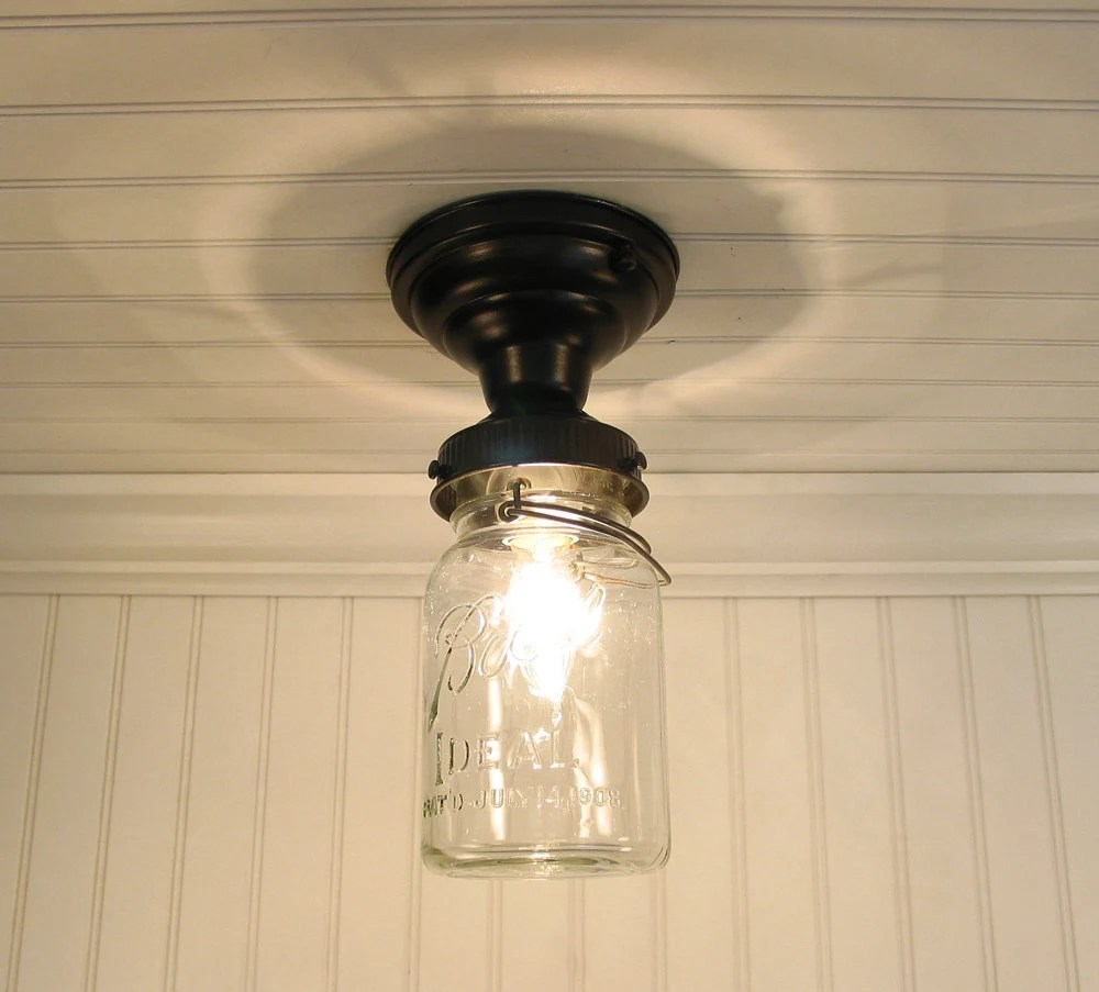 Single Vintage Canning Jar Ceiling LIGHT by LampGoods on Etsy