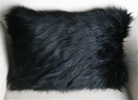 HALF OFF SALE Black Bear faux Fur Pillow Cushion 12X18 inch