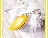 Banana Creme Pie- Unusual Geode Druzy- Necklace  U 5485 - treasure4ever