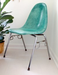 Vintage Sea Green Fiberglass Chair by Chromcraft