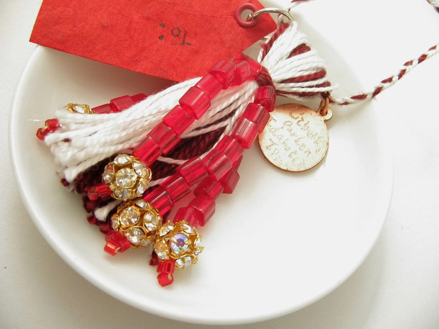Christmas Ornament Red and White Beaded Tassel - lizbethsgarden