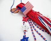 Americana Red White and Blue Beaded Patriotic USA Tassel - lizbethsgarden