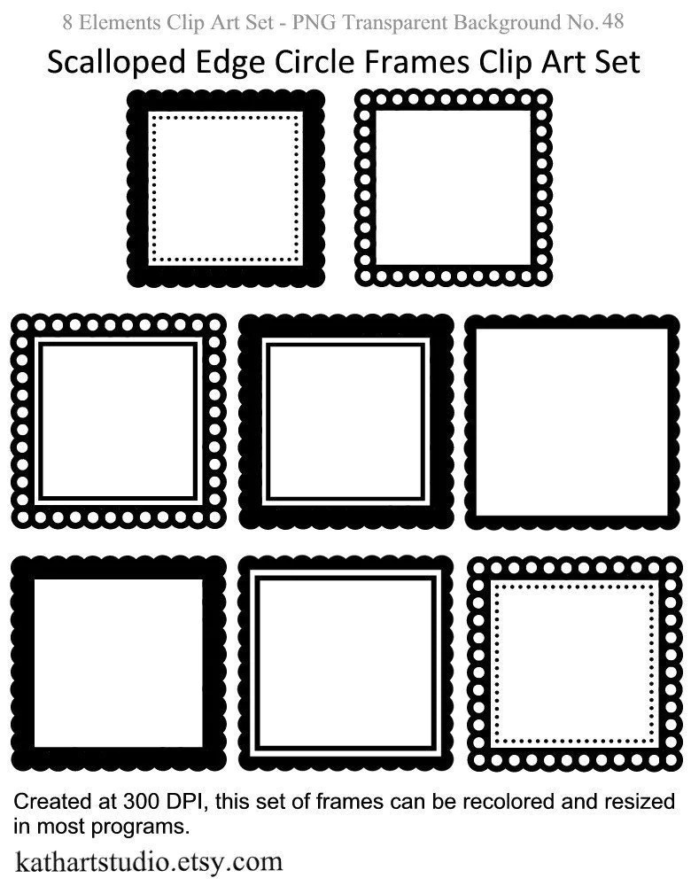 Scalloped Edge Square Frames Clipart Set for Scrapbooking