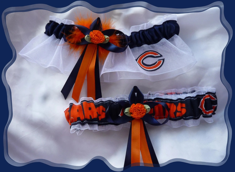 Chicago Bears White Flower Fabric Wedding Garter by TheArtofSports