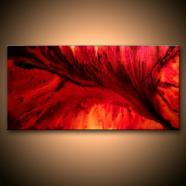 Red and Black Abstract Art Painting