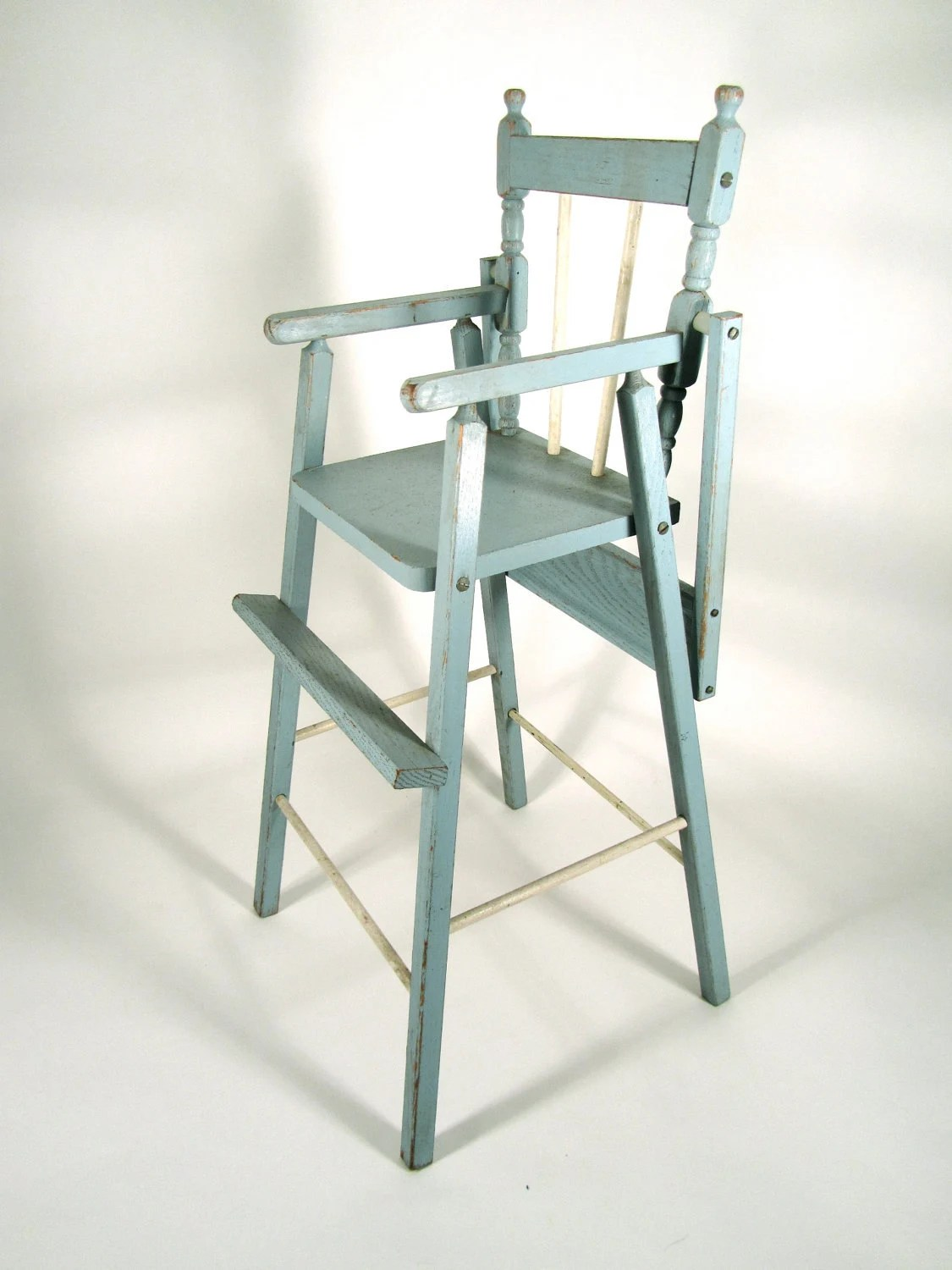 Best High Chair Review Sale Item Vintage Distressed Wood Doll High Chair In Blue