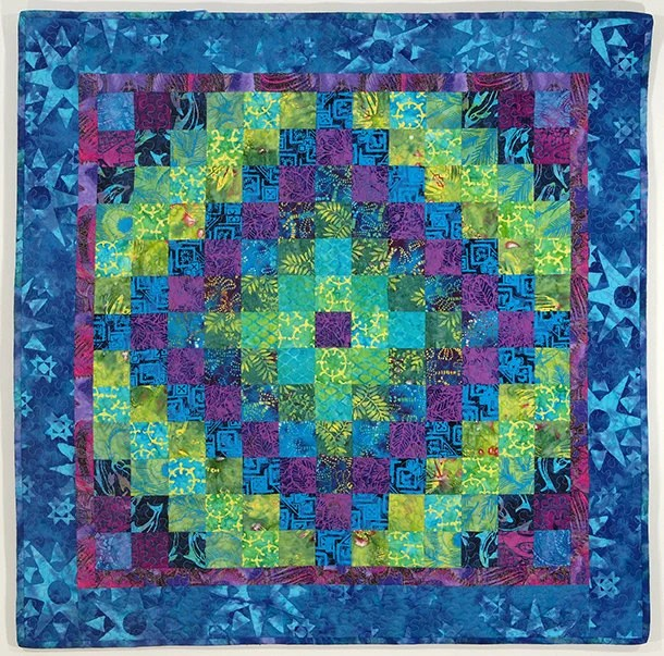 Items similar to Blue Green Purple Patchwork Wall Quilt