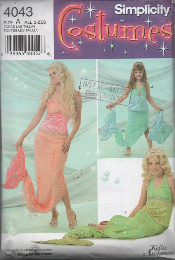 Simplicity Mermaid Costume Pattern Toddler Misses Sizes