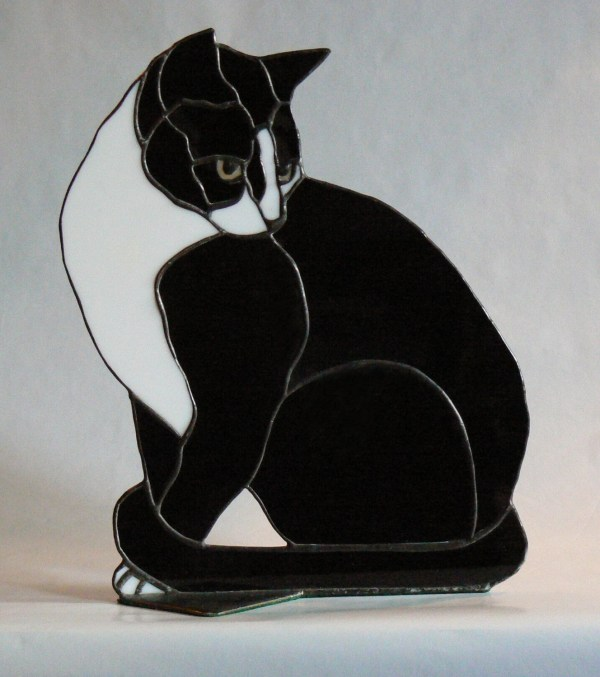Butch Stained Glass Black And White Cat