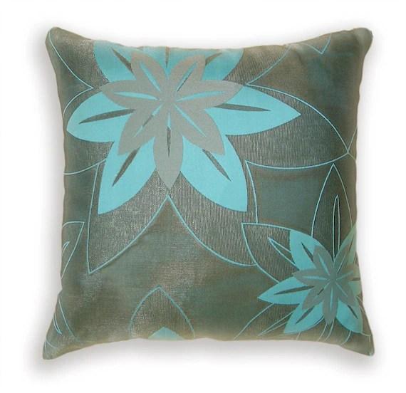 Aqua Blue Beige Decorative Throw Pillow Case 16 by