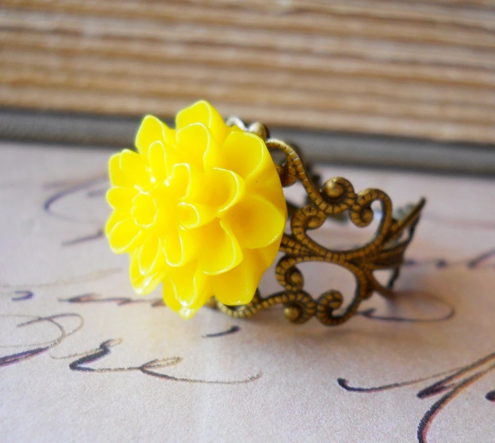 Sunny Yellow Ring Dahlia Antiqued Brass Filigree Flower Vintage Inspired Shabby Chic Romance - waterwaif