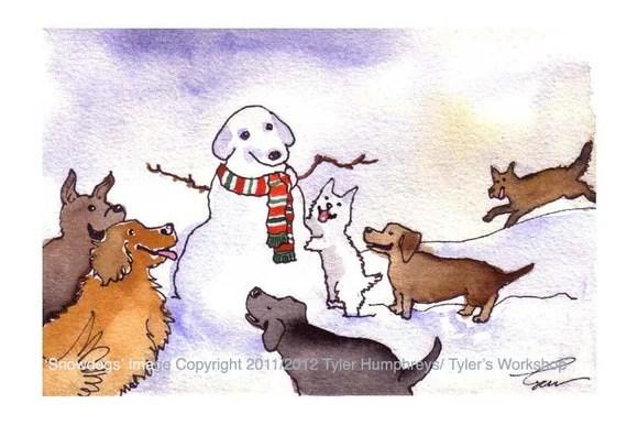 Dog Christmas Card Dogs Christmas Greeting Card Dog Art