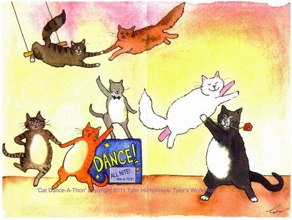 Dancing Cats Greeting Card Funny Cats Card Cat Watercolor