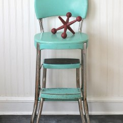 Chair Step Stool Charles Eames Circa 1950s Cosco Fold Out Aqua Turquoise