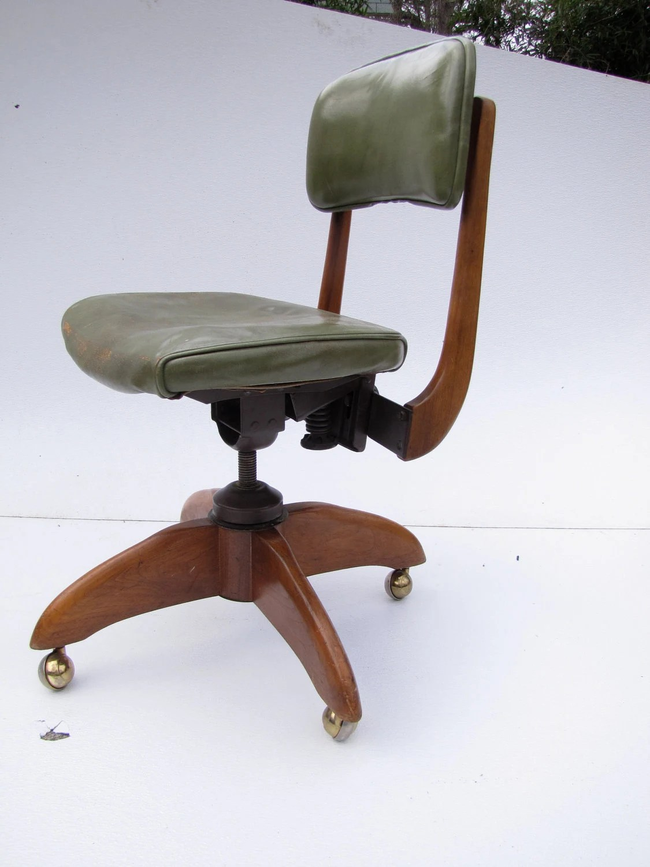 wh gunlocke chair ikea patrik 1940 39s w h secretarial green leather and by