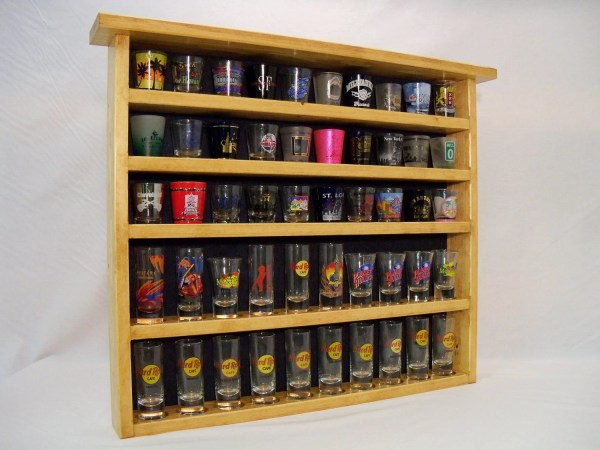 Cheyenne Series 50 Shot Glass Display Case With Blue Felt