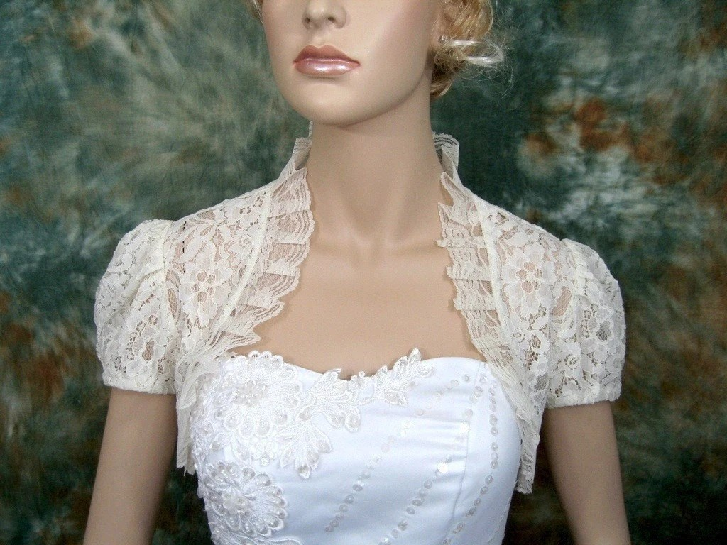 Items Similar To Short Sleeve Corded Lace Wedding Bolero
