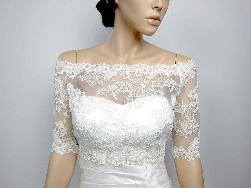 Off-Shoulder Alencon Lace Bolero Jacket Bridal Bolero Wedding