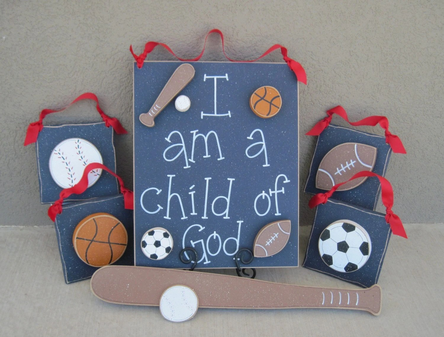 Set Of Sports Themed Boy Decor With A Child Of God Sign