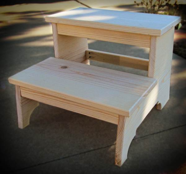Unfinished Solid Pine Child' Two Step Stool