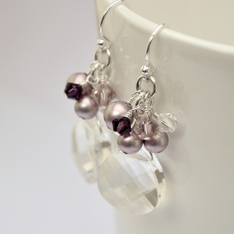 Crystal Bridesmaid Earrings. Dusty Rose Bridesmaids Jewellery.