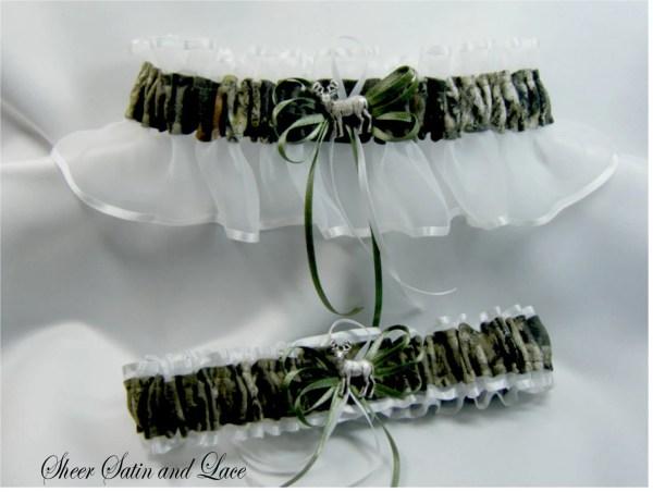 White Mossy Oak Camouflage Wedding Garters