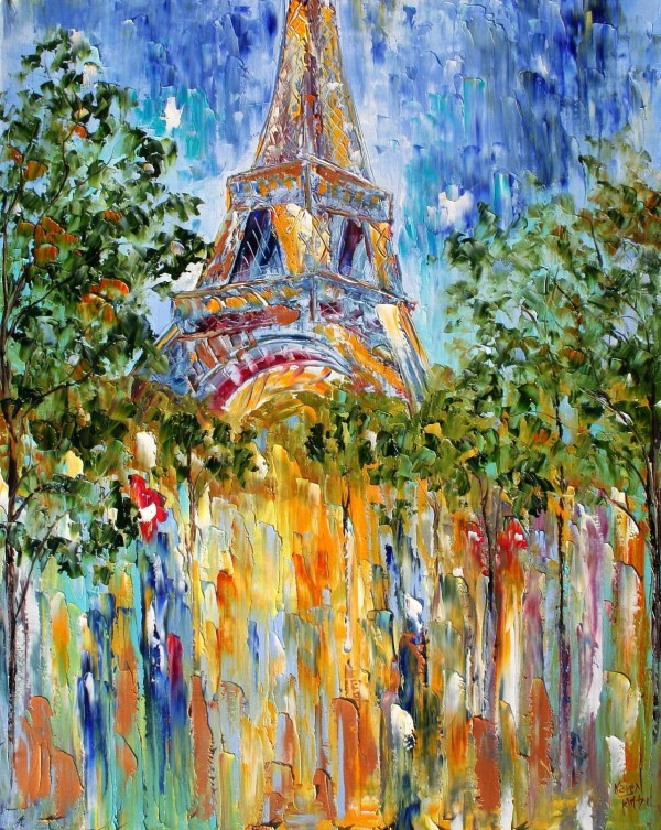 Original Oil Painting Paris Eiffel Tower Palette Knife Fine