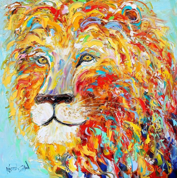 Abstract Impressionism Lion Animal Portrait Painting