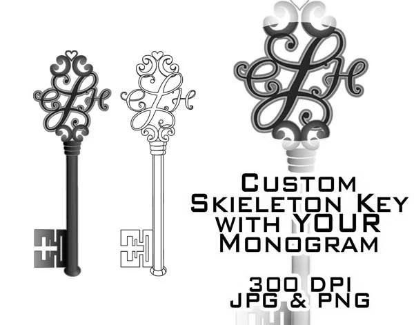 Skeleton Key Monogram Clipart Custom Digital Clip Art