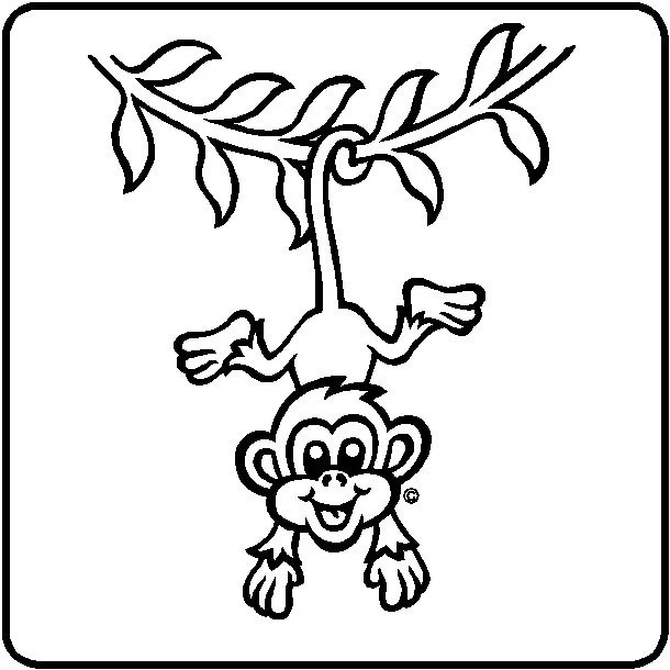 Hanging Monkey Wall Sticker Sketch Coloring Page